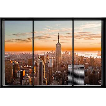 New York poster window Manhattan skyline window