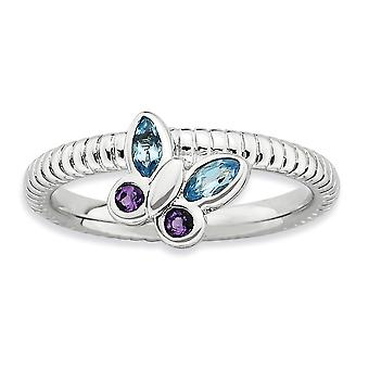 2.5mm Sterling Silver Bezel Polished Rhodium-plated Stackable Expressions Amethyst and Blue Topaz Butterfly Ring - Ring