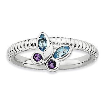 2,5 mm argent Sterling lunette polie rhodiée empilable Expressions améthyste et topaze bleue papillon Ring - Ring