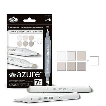 Royal & Langnickel Azure Dual Tip Marker Set of 6+1 Warm Grey Colours