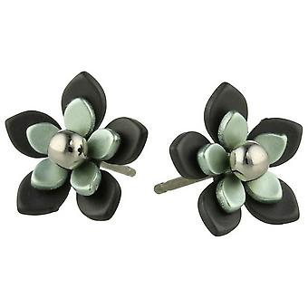 Ti2 Titanium Black Back Five Petal Flower Stud Earrings - Aqua Blue
