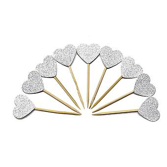 TRIXES Set of 10 Silver Glitter Heart Cake Toppers – Elegant Anniversary Wedding Engagement Decoration – Party Supplies