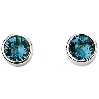 Beginnings December Swarovski Birthstone Earrings - Silver/Blue