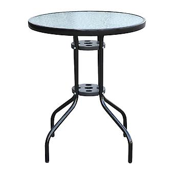 Outsunny Bistro Table Rounding Dining Tempered Glass Top Garden Black φ60cm Tempered Glass Top Garden φ60cm Black