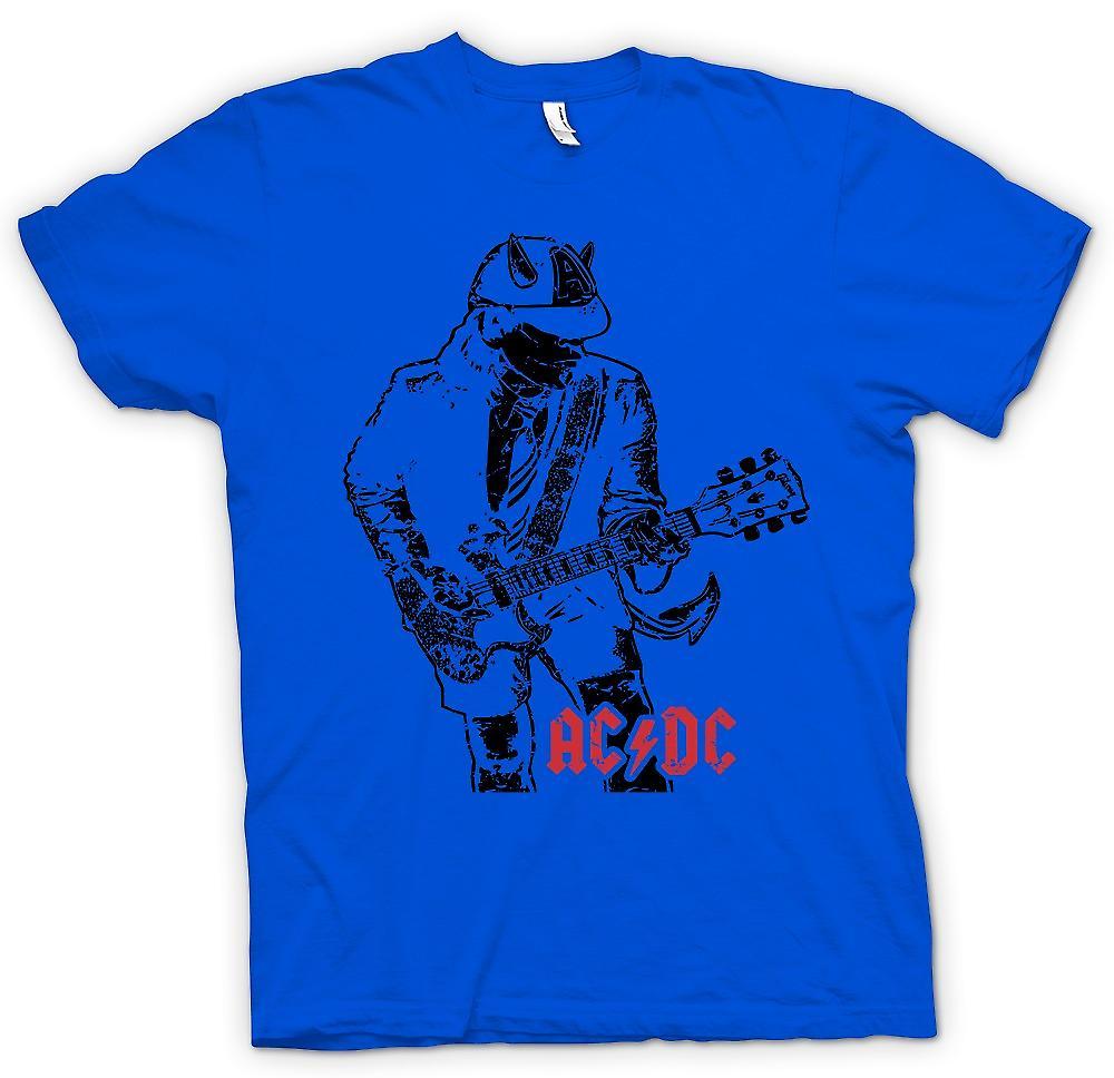 Mens t-shirt-AC/DC Angus Gibson SG con corna