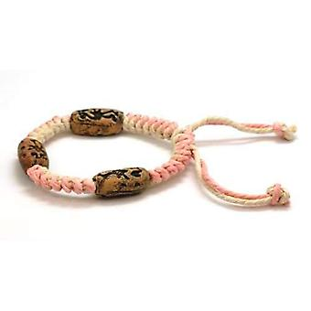 The Olivia Collection Tribal Pink & Cream Cotton, Wooden Bead Bracelet