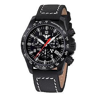 KHS watches mens watch black platoon chronograph KHS. BPCLDR. LBB