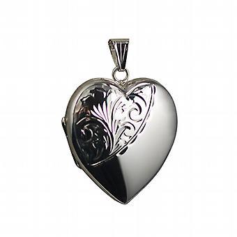 Silver 30x28mm half hand engraved heart shaped Locket