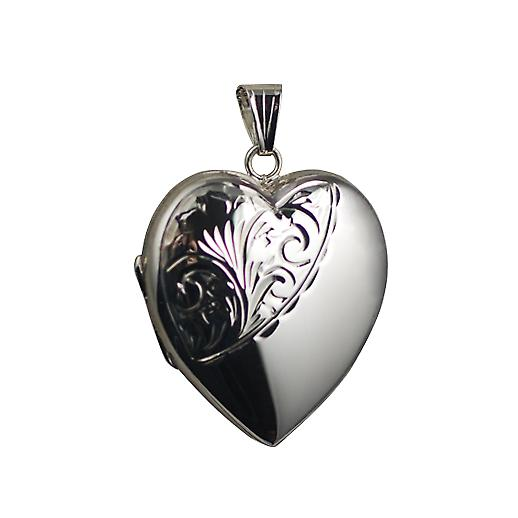 Silver 30x28mm half hand engraved heart Locket