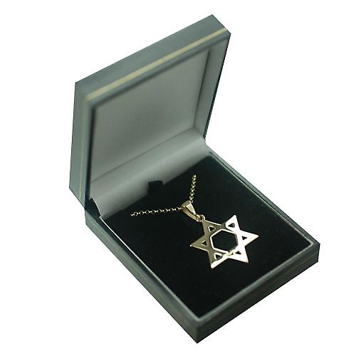 9ct Gold 31x27mm plain Star of David Pendant with bail on a round link belcher chain