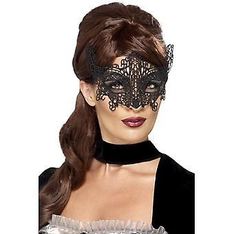 Womens zwart geborduurd Lace filigraan Swirl Eyemask Fancy Dress accessoire