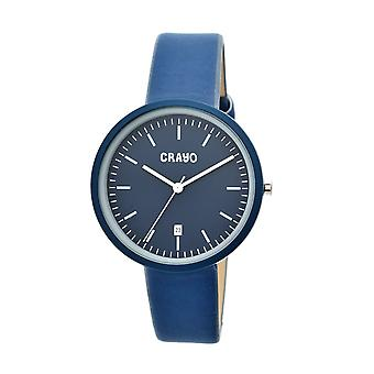 Crayo Easy Leather-Band Unisex Watch w/ Date - Navy