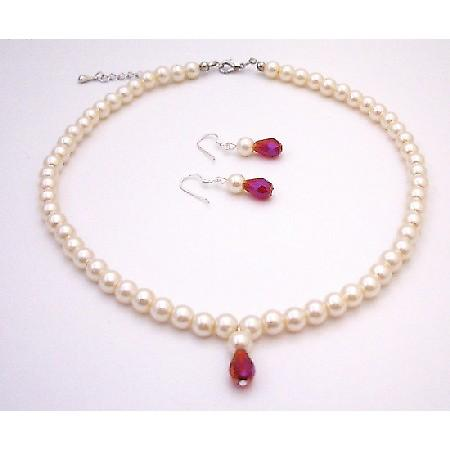Flower Girl Jewelry Faux Pearls Ivory Pearl with Teardop Jewelry