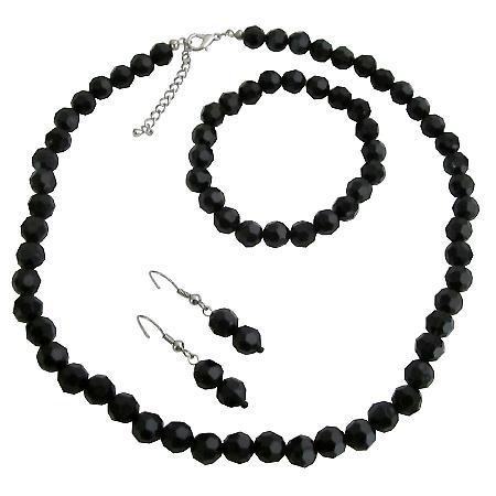 Multi-Faceted Bead Necklace Bracelet & Earrings Set