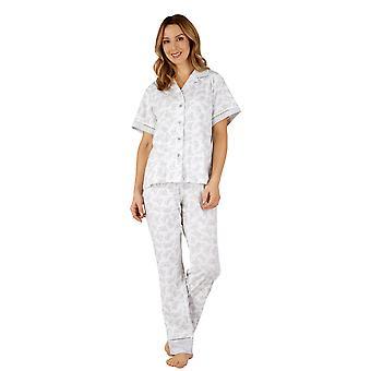 Slenderella PJ3129 Frauen Baumwoll Jersey grau Schmetterling Pyjama Pyjama-Set