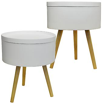 Drum - 2 Pack - Retro Wood Tray Top End Table / Bedside Table - White / Natural