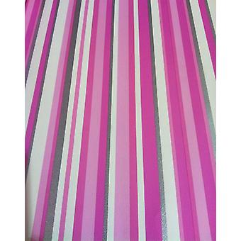 Stripe Wallpaper Stripey Striped Metallic Silver Pink White Bold Washable