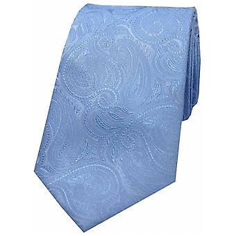 David Van Hagen Luxury Paisley Silk Tie - Sky Blue
