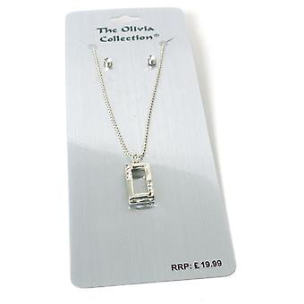 The Olivia Collection Rhinestone Set Rectangle Pendant and Stud Earrings Set