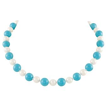 Eternal Collection Duet Turquoise And Shell Pearl Necklace