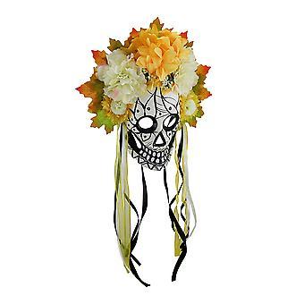Journée colorée du crâne mort sucre masque w/florale Couronne