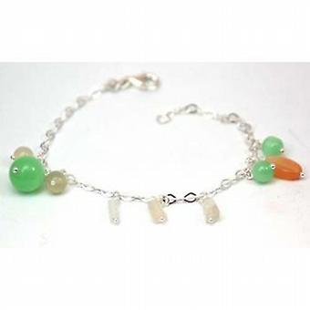 Toc Sterling Silver Jade Colored Glass Beaded Bracelet