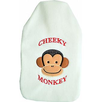 Cuddlesoft Embroidered 2L Hot Water Bottle: Cheeky Monkey