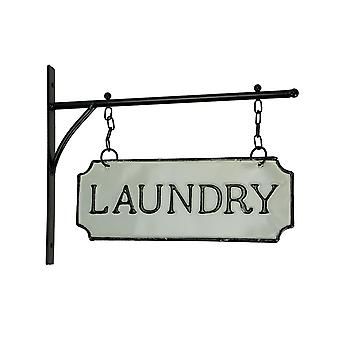Black and White Vintage Laundry Double Sided Hanging Blade Sign