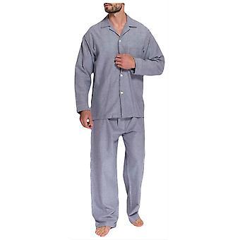 Britische Boxer Ash Herringbone Zwei Falte Flannel Pyjamas-Grau
