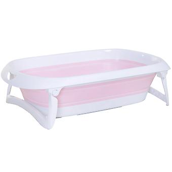 HOMCOM Folding Baby Bath Tub 36 Months Anti-Slip Stable Support Non Toxic Plastic Curved Pink White Baby Bath Tub Safety Shower Slide Protection Comfortable Portable