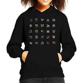 Monster Hunter World Icon Tiles Kid's Hooded Sweatshirt