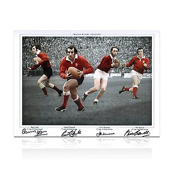 Wales Rugby Photograph signed by Gareth Edwards, JPR Williams, Phil Bennett and Barry John