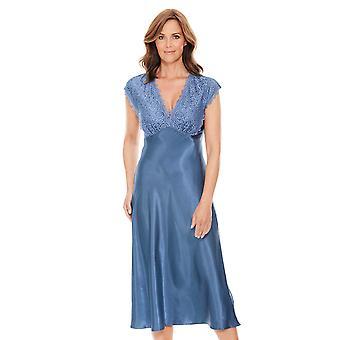 Ladies Womens Nightdress Luxury Satin and Lace