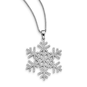 925 Sterling Silver Pave Spring Ring Rhodium-plated and Cubic Zirconia Brilliant Embers Snowflake Necklace - 18 Inch