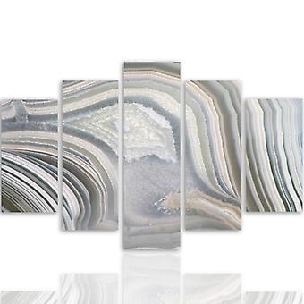 Five Part Picture On Canvas, Pentaptych, Type A, Gray Abstraction