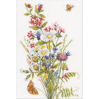 LanArte Field Flowers On Cotton Counted Cross Stitch Kit-12.25