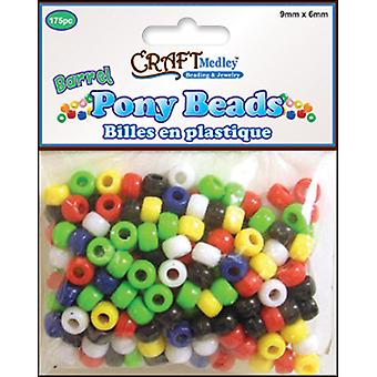 Barrel Pony Beads 9Mmx6mm 175 Pkg Opaque Multi Mix Bd239 H