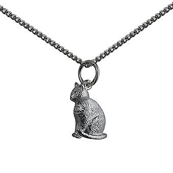 Silver 5x15mm hollow sitting Cat Pendant with a curb Chain 24 inches