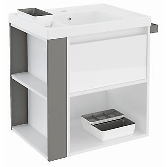 Bath+ 1 Drawer Cabinet + Shelf With Resin Basin 60cm White Gloss Grey