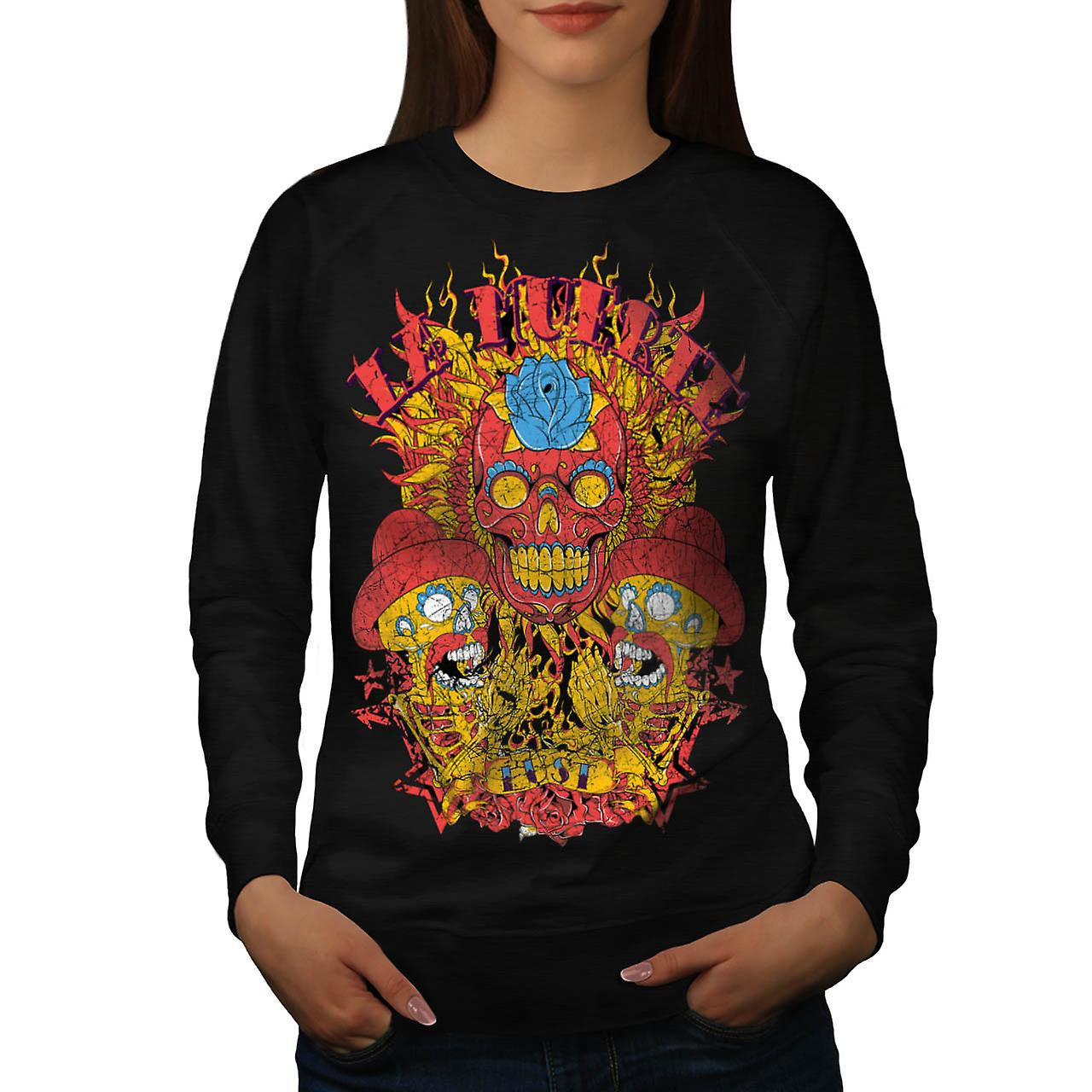 Muerte Lust Skull Hat Mexican Women Black Sweatshirt | Wellcoda