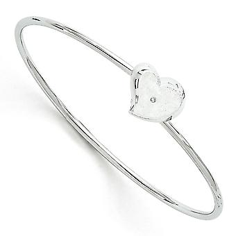 Sterling Silver White Ice Diamond Heart Pendant Bangle Bracelet - .01 dwt