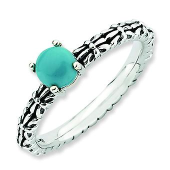 2.5mm Sterling Silver Stackable Expressions Antiqued Turquoise Ring - Ring Size: 5 to 10