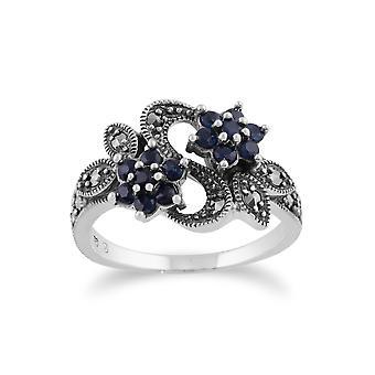 Gemondo 925 Sterling Silver Art Nouveau 0.56ct Sapphire & Marcasite Floral Ring