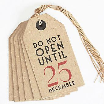 East of India Do Not Open Until 25 December Christmas Vintage Tags x6