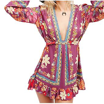 Free People Women's Violet Hill Print Tunic, Floral, Low Plunge Neck