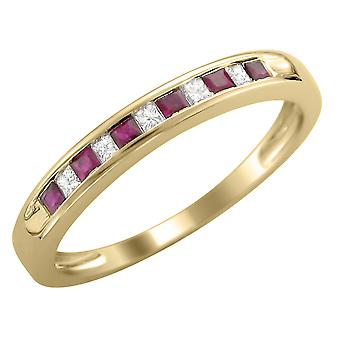 Princess Cut Diamond and Ruby Band 1/3 Carat (ctw) in 14K Yellow Gold