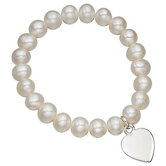 925 Silver Stretch Pearl And Heart Bracelet
