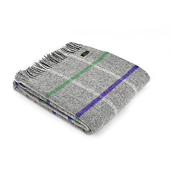 Tweedmill Pure New Wool Windowpane Check Throw - Grey/Purple/Green
