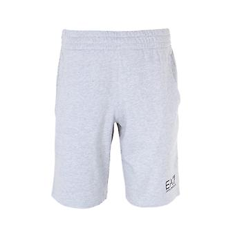 EA7 Grey Melange Logo Cotton Jersey Bermuda Shorts