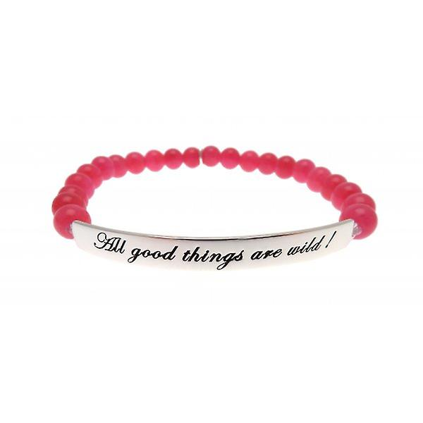 W.A.T 925 Sterling Silver 'All Good Things Are Wild' Hot Pink Jade Quote Bracelet